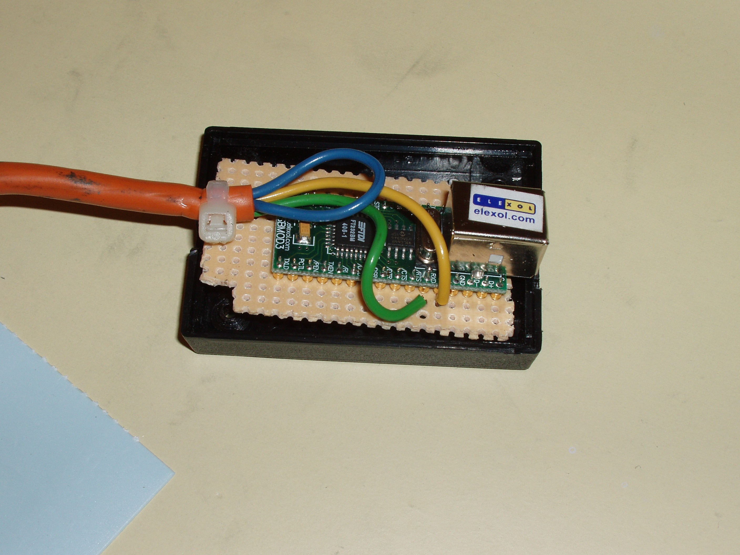 I used a bit of vector board and wire to make the needed USBMOD3  connections: