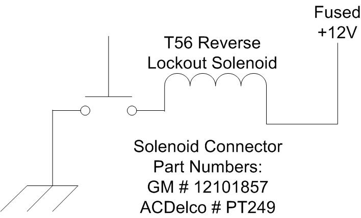 under the hood to enable the electric reverse lockout release the part numbers for the solenoid connector of the t56 are either gm 12101857 or acdelco pt249